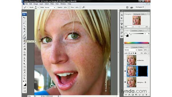 Smoothing blemishes while matching noise: Photoshop CS3 One-on-One: Beyond the Basics