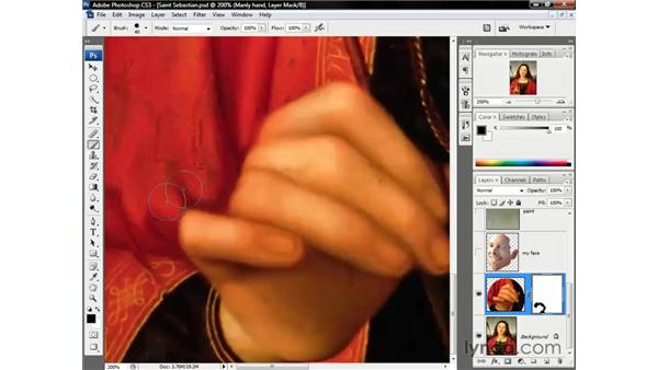 Erasing with a layer mask: Photoshop CS3 One-on-One: Beyond the Basics