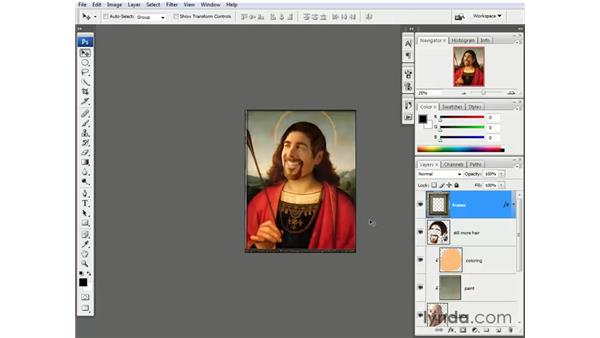 Adding a frame and expanding the canvas: Photoshop CS3 One-on-One: Beyond the Basics