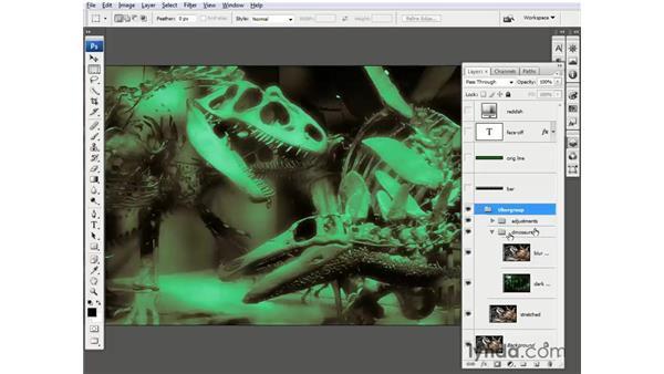 Grouping selected layers: Photoshop CS3 One-on-One: Beyond the Basics