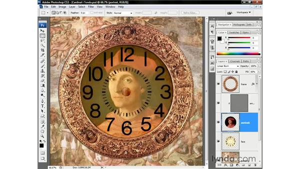 Merging clock face and cardinal: Photoshop CS3 One-on-One: Beyond the Basics