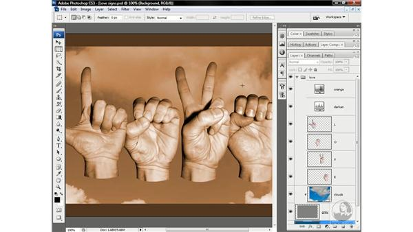 Color the hands, crop the sky: Photoshop CS3 One-on-One: Advanced Techniques