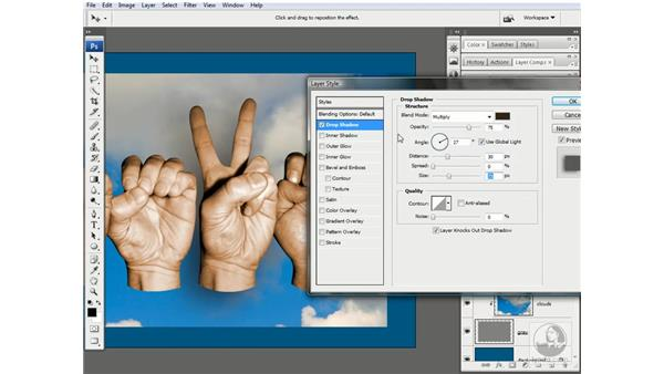 Crafting a drop shadow: Photoshop CS3 One-on-One: Advanced Techniques