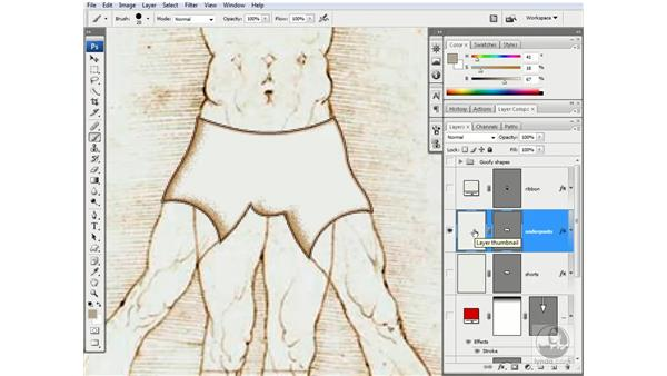 Rasterizing and painting the shape's fill: Photoshop CS3 One-on-One: Advanced Techniques