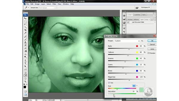 Tinting a monochrome photo: Photoshop CS3 One-on-One: Advanced Techniques