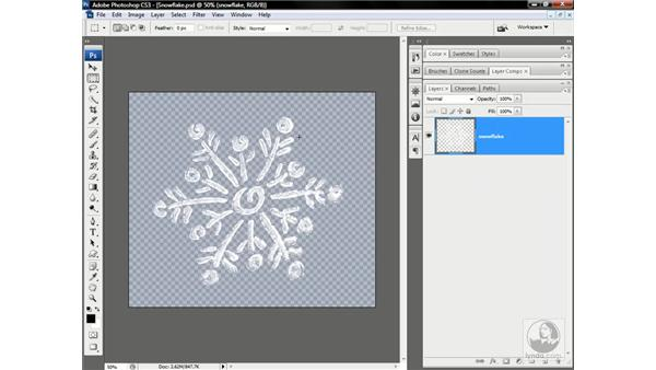 Changing all the snowflakes to stars: Photoshop CS3 One-on-One: Advanced Techniques
