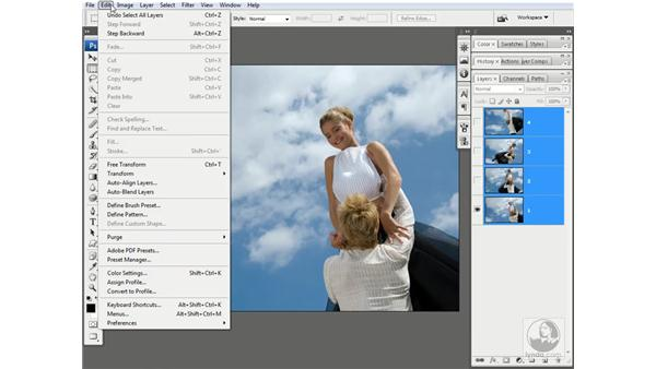 The Auto-Align Layers command: Photoshop CS3 One-on-One: Advanced Techniques