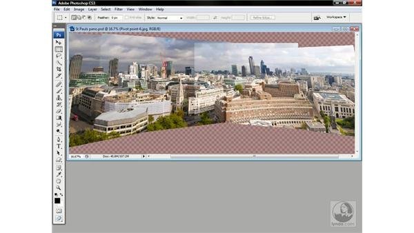 Auto-aligning a panorama: Photoshop CS3 One-on-One: Advanced Techniques