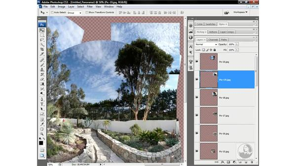 Fixing Photomerge problems: Photoshop CS3 One-on-One: Advanced Techniques