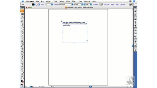 Creating area text: Illustrator CS3 Essential Training