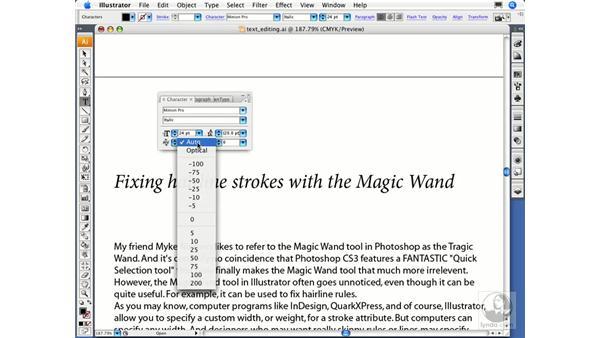 Applying basic character settings: Illustrator CS3 Essential Training