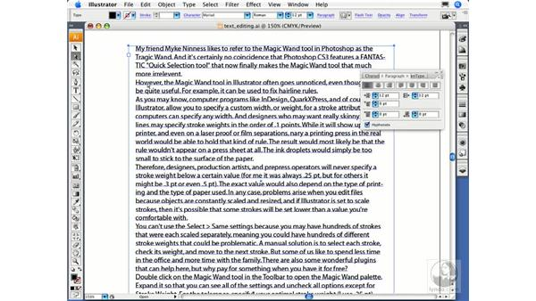 Applying basic paragraph settings: Illustrator CS3 Essential Training