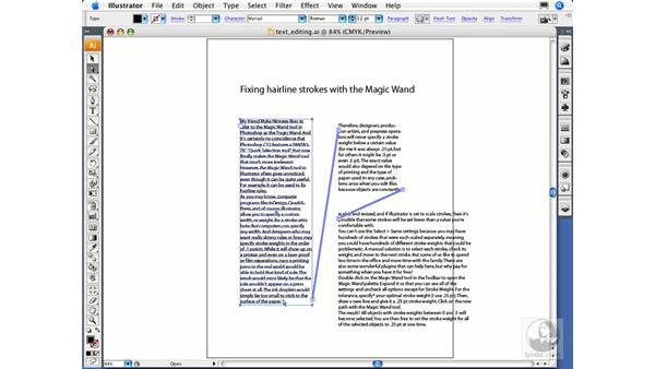 Creating text threads: Illustrator CS3 Essential Training