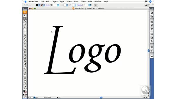Converting text to outlines: Illustrator CS3 Essential Training