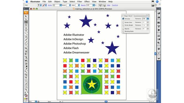 Using the Magic Wand and the Lasso tool: Illustrator CS3 Essential Training