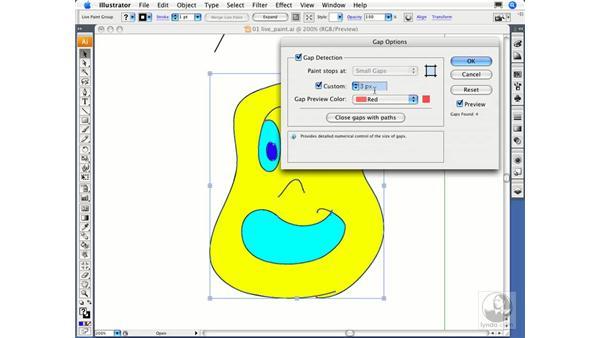 Detecting gaps in Live Paint groups: Illustrator CS3 Essential Training