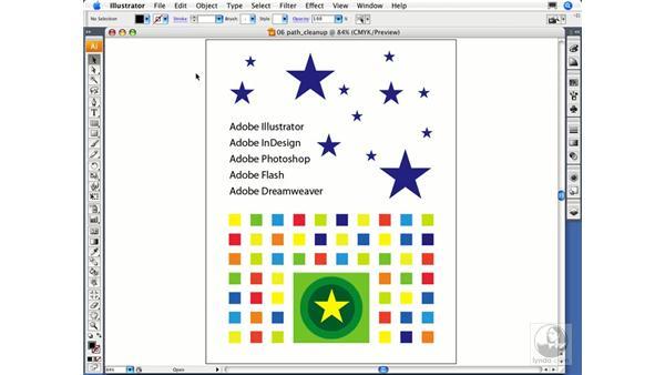 Cleaning up errant paths: Illustrator CS3 Essential Training