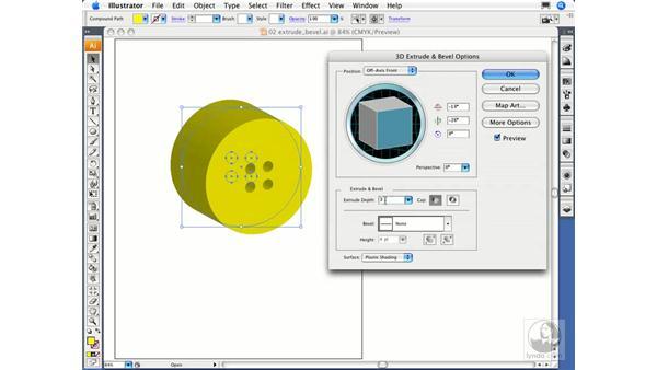 Applying the 3D Extrude & Bevel effect: Illustrator CS3 Essential Training