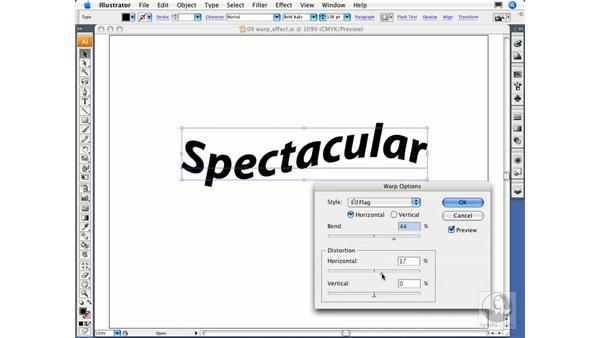 Using the Warp effect: Illustrator CS3 Essential Training