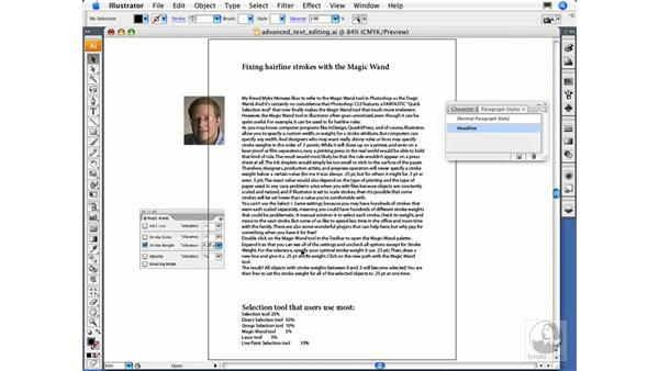 Creating and using paragraph styles: Illustrator CS3 Essential Training