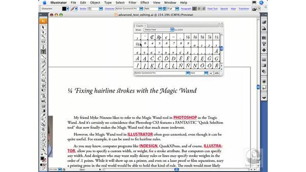 Using the Glyphs panel: Illustrator CS3 Essential Training