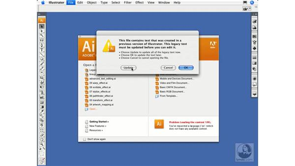 Dealing with legacy text: Illustrator CS3 Essential Training