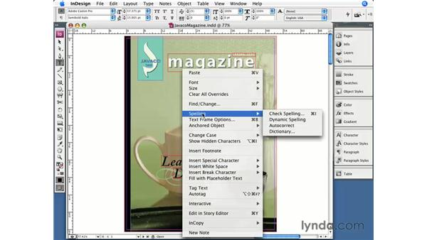Contextual menus: InDesign CS3 Essential Training