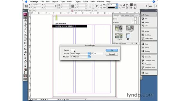 Inserting, deleting, and moving pages: InDesign CS3 Essential Training