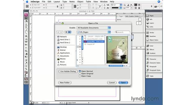 Loading master pages: InDesign CS3 Essential Training