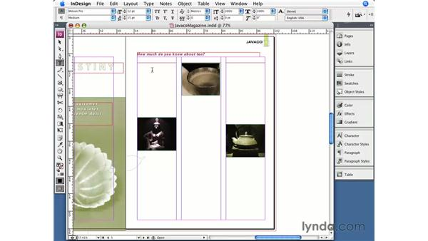 Filling with placeholder text: InDesign CS3 Essential Training