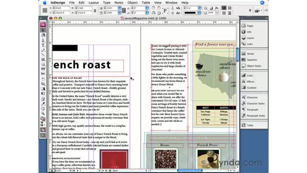 Threading text frames: InDesign CS3 Essential Training