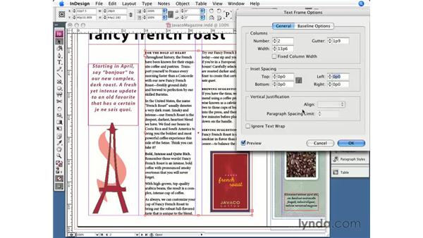 Text frame options: InDesign CS3 Essential Training