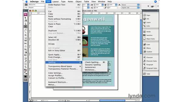 Spelling: InDesign CS3 Essential Training