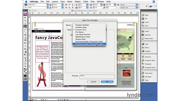 Text variables: InDesign CS3 Essential Training