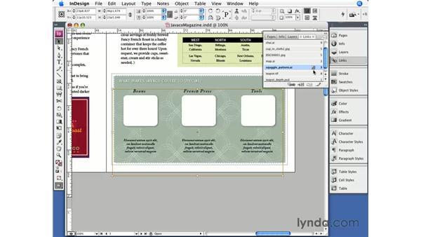 Embedding links: InDesign CS3 Essential Training