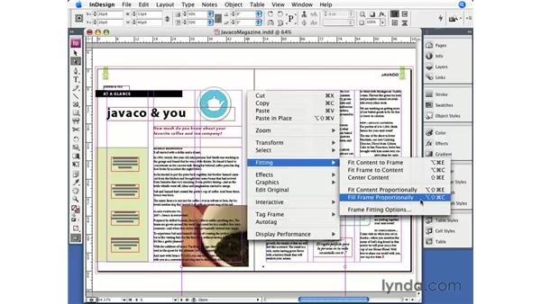 Frame fitting options: InDesign CS3 Essential Training