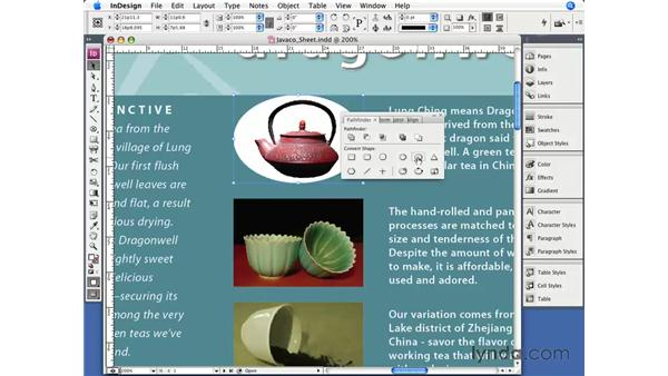 Editing frame and path shapes: InDesign CS3 Essential Training