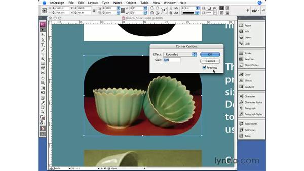 Corner effects: InDesign CS3 Essential Training