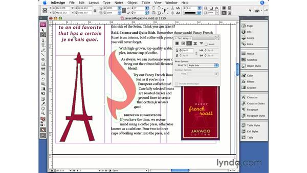 Editing text wrap: InDesign CS3 Essential Training