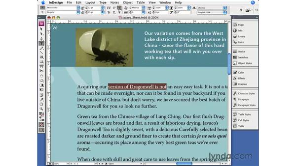 Advanced character styling: InDesign CS3 Essential Training