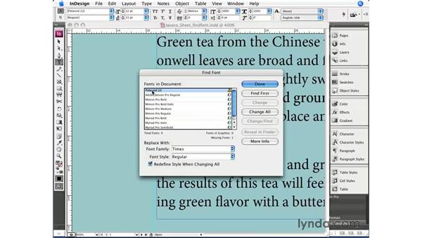 The Find Font command: InDesign CS3 Essential Training
