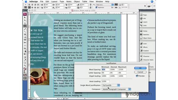 Justification: InDesign CS3 Essential Training