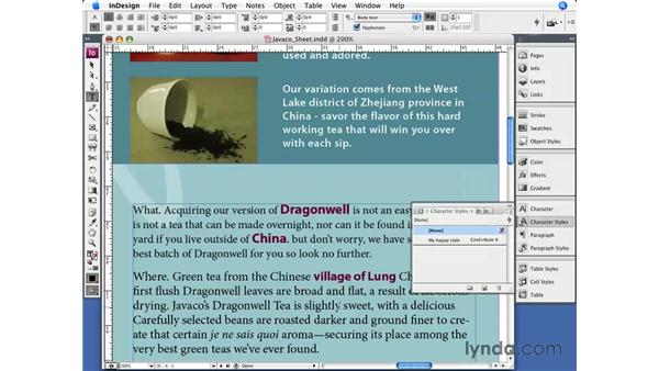Character styles: InDesign CS3 Essential Training