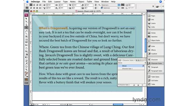 Nested styles: InDesign CS3 Essential Training