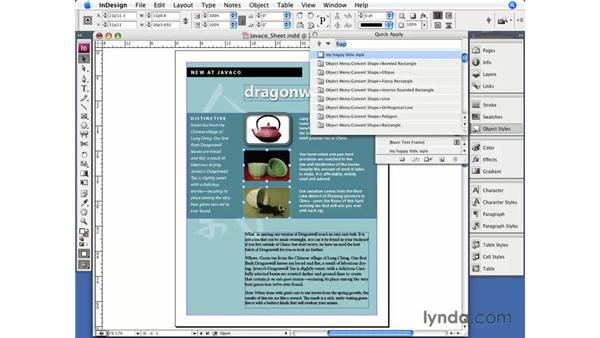 Object styles: InDesign CS3 Essential Training