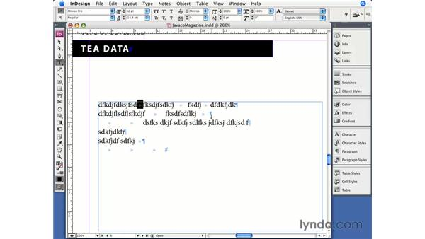 Creating a table: InDesign CS3 Essential Training