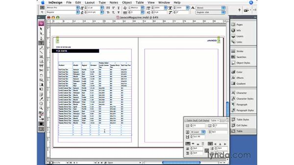 Adding and deleting rows and columns: InDesign CS3 Essential Training
