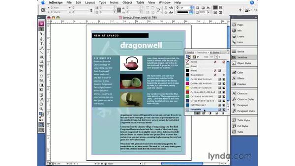 Creating color swatches: InDesign CS3 Essential Training