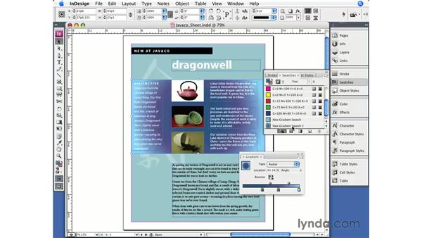 Applying gradients: InDesign CS3 Essential Training