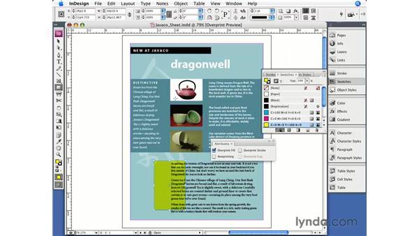 Overprinting: InDesign CS3 Essential Training